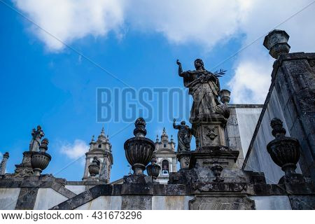 View of the stairways to church of Bom Jesus do Monte near the city of Braga, Portugal.