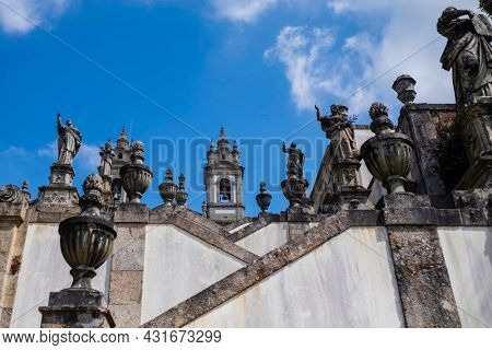 View of the stairways to the church of Bom Jesus do Monte in Braga, Portugal.