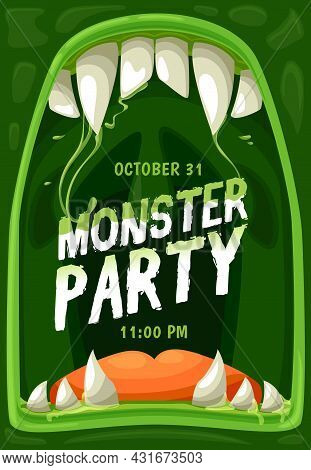Halloween Monster Party Vector Poster With Frame Of Horror Zombie Mouth, Jaws With Scary Teeth, Fang