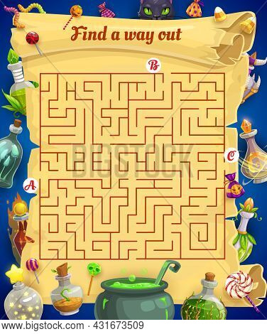 Kids Labyrinth Maze With Halloween Treats And Magic Potions. Child Search Way Activity, Children Fin