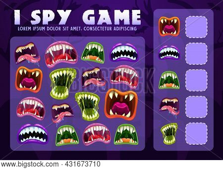 I Spy Educational Game For Kids With Monster Mouths, Vector Puzzle. Math Count Worksheet For Kinderg