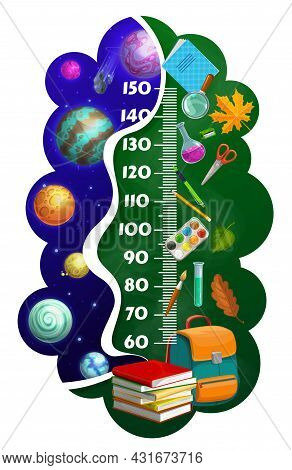 Kids Height Chart Ruler, Cartoon Space Planets, School Stationery, Textbooks, And Schoolbag. Growth
