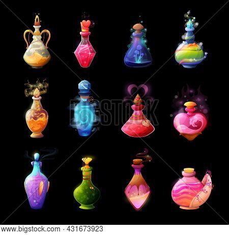 Cartoon Potion Bottles. Love Elixir, Magic Spell Or Poison In Glass Bubble. Witch, Sorcerer Or Wizar
