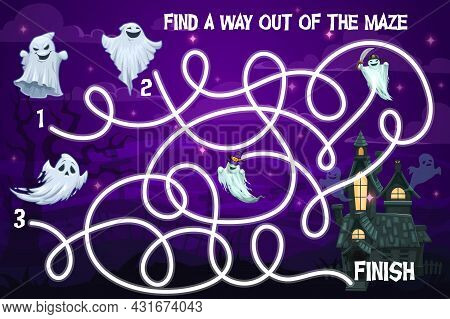Halloween Kids Labyrinth Maze Game With Funny Ghosts. Vector Puzzle Help Spooky Characters Find Way