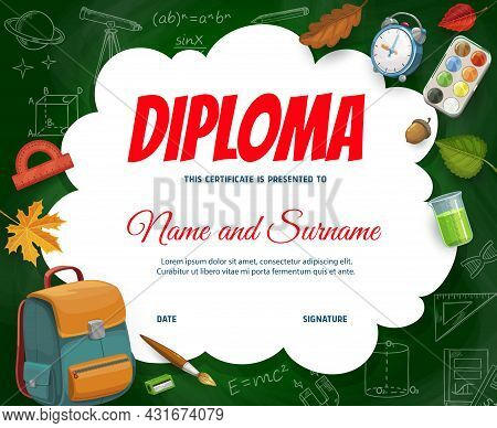 Education Diploma With Schoolbag, Science Sketch Formulas, School Items And Autumn Fall Leaves. Vect