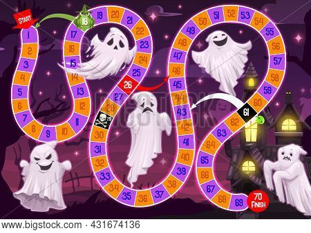 Kids Halloween Board Game With Ghosts. Child Playing Activity, Children Roll And Vector Move Boardga