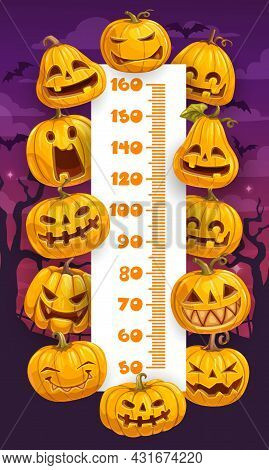 Halloween Cartoon Pumpkins Kids Height Chart, Growth Measure Vector Design. Ruler Scale Of Measuring