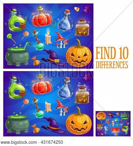 Kids Find Ten Differences Halloween Quiz Game. Child Playing Activity Or Riddle Worksheet, Children