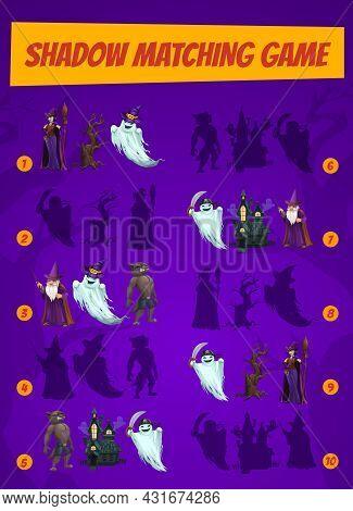 Kids Game Shadow Match With Halloween Magician Characters. Children Logic Activity, Preschool Or Kin