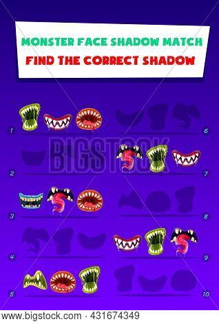 Monster Face Shadow Match Kids Game With Creepy Mouths. Find Correct Shadow Children Logic Activity.