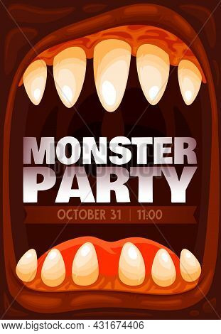 Monster Party Vector Invitation Of Halloween Holiday In Frame Of Horror Zombie Monster Mouth Or Scre