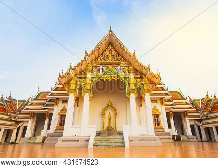 Bright Ancient Buddhism Temple Architecture Under Blue Sky And Sunlight, Ancient Temple In Asia Thai