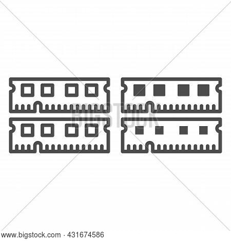 Ram Module Line And Solid Icon, Electronics Concept, Memory Module Fragments Vector Sign On White Ba