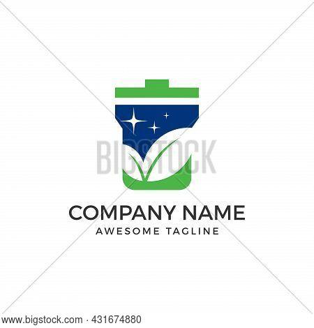Trash Logo. Trash Vector With Leaf. Trash Icon. Trash Illustration. Trash Simple Sign. Trash Vector