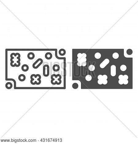 Printed Circuit Board With Fastening Elements Line And Solid Icon, Electronics Concept, Pcb Vector S