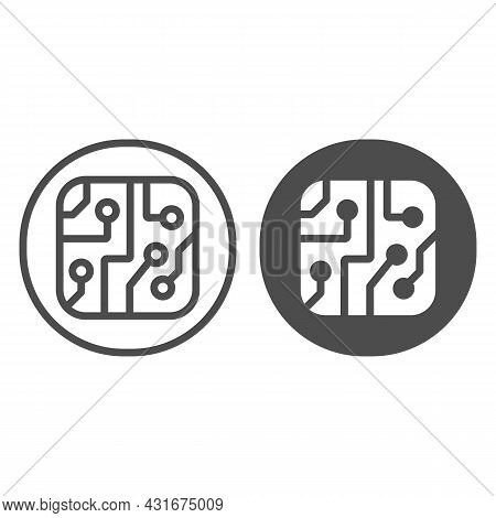 Pcb Layout In Circle Line And Solid Icon, Electronics Concept, Printed Circuit Board In Circle Vecto