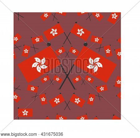 Vector Illustration Of Pattern Hong Kong Flags And Dark Red Color Background.
