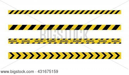 Warning Tape On White Background. Black And Yellow Line Striped. Caution And Danger Tapes. Vector Il