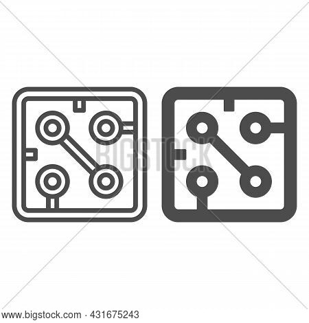 Fragment Of Printed Circuit Board Square Shape Line And Solid Icon, Electronics Concept, Pcb Vector