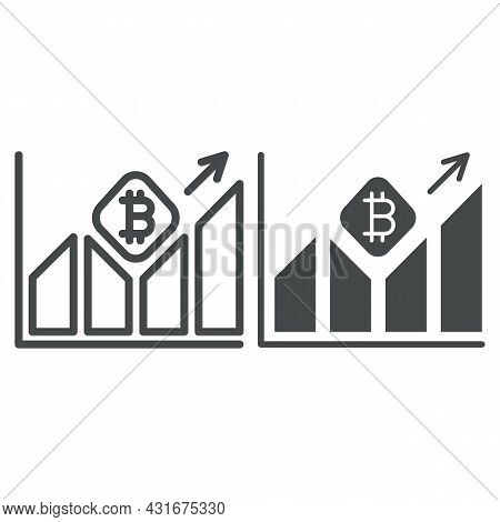 Graph Of Bitcoin Value Growth Line And Solid Icon, Cryptocurrency Concept, Btc Rate Surging Vector S