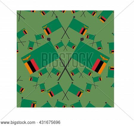 Vector Illustration Of Pattern Zambia Flags And Dark Green Color Background.
