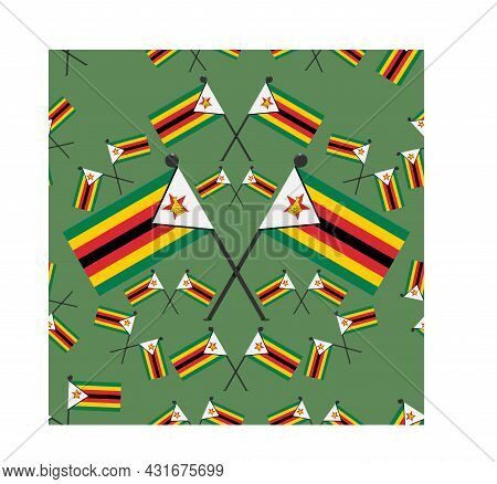 Vector Illustration Of Pattern Zimbabwe Flags And Dark Green Color Background.