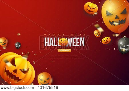 Halloween Pumpkin Red Background Illustration Bacground Character