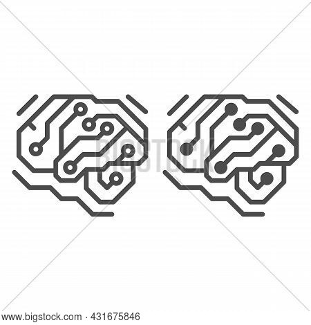 Fragment Of Analog Circuit In The Form Of A Brainline And Solid Icon, Electronics Concept, Pcb Vecto