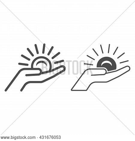Sun On Palm Of The Hand Line And Solid Icon, Weather And Climate Concept, Sunset On The Hand Vector