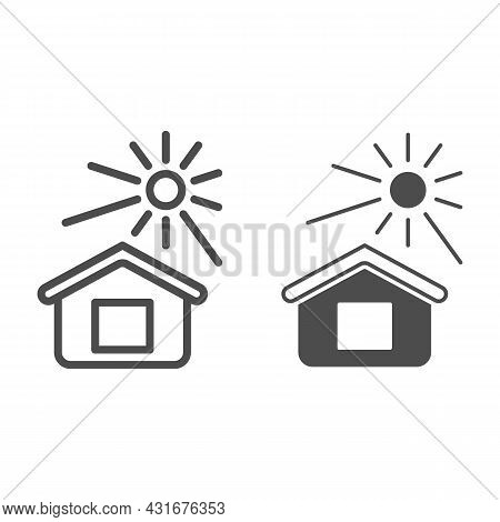 Sun Illuminates The House Line And Solid Icon, Weather And Climate Concept, House And Sunshine Vecto