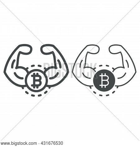 Bitcoin, Strong Currency, Muscles, Hands Line And Solid Icon, Cryptocurrency Concept, Btc Power Vect