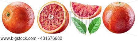 Set of red orange, orange slices and orange leaves. File contains clipping paths.
