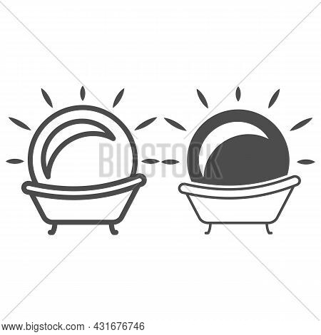 Sun In The Bath Line And Solid Icon, Weather And Climate Concept, Sunbathe Vector Sign On White Back