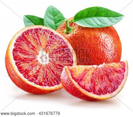 Red orange with green leaf and orange slices on white background. File contains clipping path.