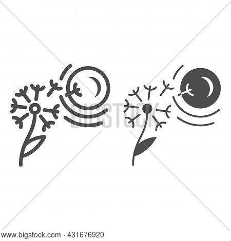 Dandelion Seeds Fly To Sun Line And Solid Icon, Nature And Climate Concept, Flower And Sunshine Vect