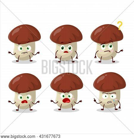 Cartoon Character Of Bolete With What Expression