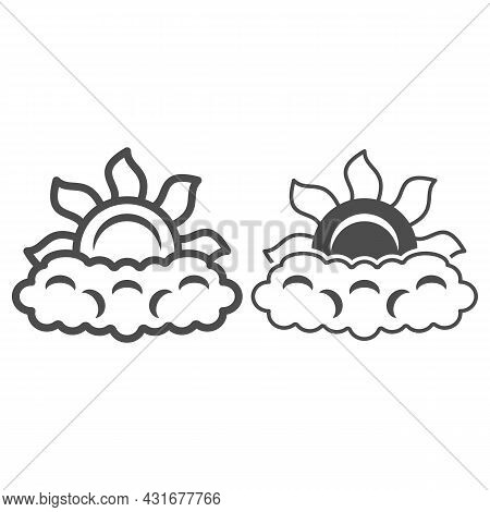 Sun Peeps Out Through Cloud Line And Solid Icon, Weather And Climate Concept, Partially Cloudy Vecto