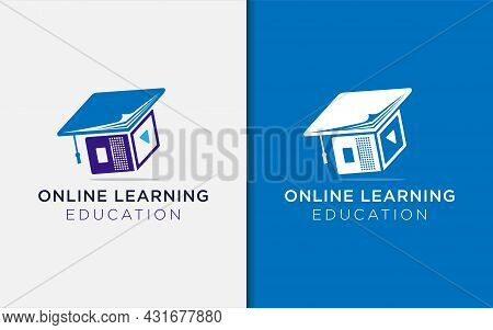 Online Learning Logo Design With Book And Laptop Combined As Toga Hat Concept. Education Logo Illust