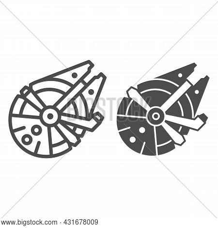 Millennium Falcon Light Freighter Line And Solid Icon, Star Wars Concept, Stellar Envoy Vector Sign