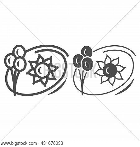 Sun And Balloons Line And Solid Icon, Weather And Climate Concept, Summer Holiday Vector Sign On Whi