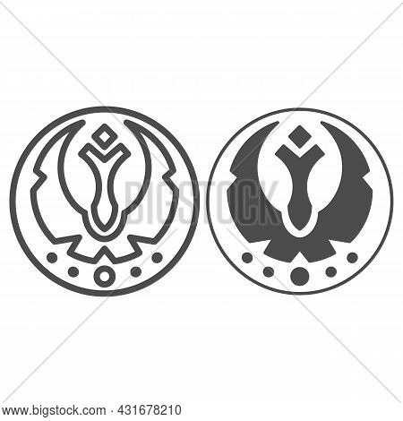 Galactic Federation Emblem Line And Solid Icon, Star Wars Concept, Triumvirate Sign Vector Sign On W