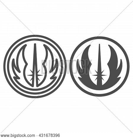 Jedi Order Emblem Line And Solid Icon, Star Wars Concept, Light Side Of The Force Vector Sign On Whi