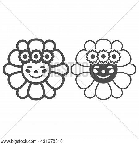 Smiling Sun In Daisies Wreath Line And Solid Icon, Weather Concept, Sunflower In Diadem Vector Sign