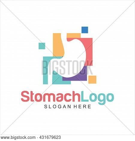 Stomach Logo Design Concept, Stomach With Colorful Logo Design Template Vector