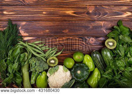 Organic Produce. Green Vegetable Frame. Healthy Diet Food. Top View Of Healthy Food Clean Food: Fram