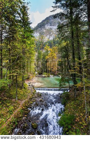 Travel to Slovenia. Cloudy day. Julian Alps. Shallow lake with glacial greenish water, covered with yellow and orange fallen leaves. Autumn forest and cloudy sky are reflected in the lake