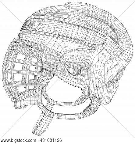 Goalkeeper Hockey Helmet. Wire-frame Outline Drawing Helmet. Vector Created Of 3d