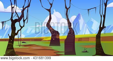 Spring Landscape With Forest And White Mountains On Horizon. Vector Cartoon Illustration Of Green Va