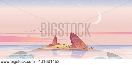Sea Beach And Small Island In Water With Rocks In Morning. Vector Cartoon Landscape Of Ocean Or Lake