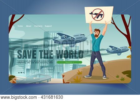 Save World Banner With Eco Activist With Gun Forbidden Sign On Poster. Vector Landing Page Of Enviro